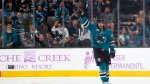 San Jose Sharks defenseman Erik Karlsson (65) celebrates after scoring a goal against the St. Louis Blues during the second period of an NHL hockey game in San Jose, Calif., Saturday, Nov. 17, 2018. (AP Photo/Tony Avelar)