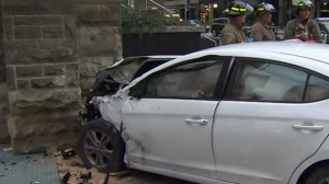 A car slammed into a church in Yorkville following a two-vehicle crash on Sunday morning.