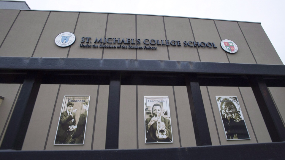 St. Michael's College School is shown in Toronto on November 15, 2018. Advocates say shocking new videos of extreme bullying offer parents and educators an opportunity to teach young witnesses the importance of bystander intervention. (THE CANADIAN PRESS / Frank Gunn)