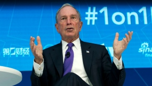 In this Thursday, April 19, 2018, file photo, former New York City Mayor and United Nations Special Envoy for Climate Action Michael Bloomberg speaks at World Bank/IMF Spring Meetings, in Washington. (AP Photo/Jose Luis Magana)