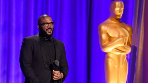 Actor-filmmaker Tyler Perry addresses the audience at the 2018 Governors Awards at The Ray Dolby Ballroom on Sunday, Nov. 18, 2018, in Los Angeles. (Photo by Chris Pizzello/Invision/AP)