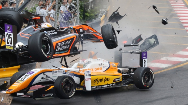 Horrifying crash at Macau Grand Prix as driver goes flying