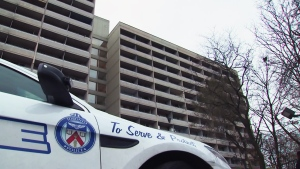 Toronto police investigate an alleged homicide at an apartment building on Lawrence Avenue East on Sunday, Nov. 18, 2018.