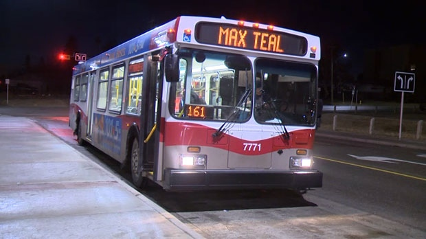 The MAX Teal line runs to Mount Royal University, Rockyview General Hospital and the Douglas Glen park and ride.