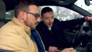 Brayden Foreht and Ethan Wald view the video they shot on a cellphone of an alleged impaired driving in Richmond Hill.