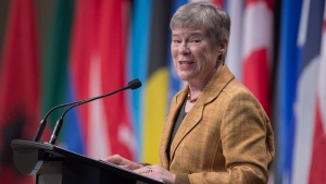 NATO Deputy Secretary General Rose Gottemoeller addresses a plenary session in Halifax on Monday, Nov. 19, 2018. THE CANADIAN PRESS/Andrew Vaughan