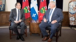 Quebec Premier Francois Legault, left, meets with Ontario Premier Doug Ford at Queens Park, in Toronto on Monday, Nov. 19, 2018. (THE CANADIAN PRESS/Chris Young)