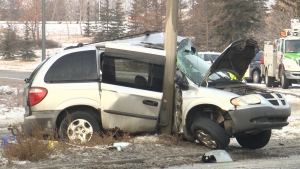 A 19-year-old man has died after he crashed a Dodge Caravan into a post on the Yellowhead Trail on Nov. 19, 2018.
