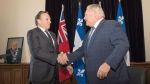 Quebec Premier Francois Legault, left, meets with Ontario Premier Doug Ford at Queens Park, in Toronto on Monday, Nov. 19, 2018. THE CANADIAN PRESS/Chris Young