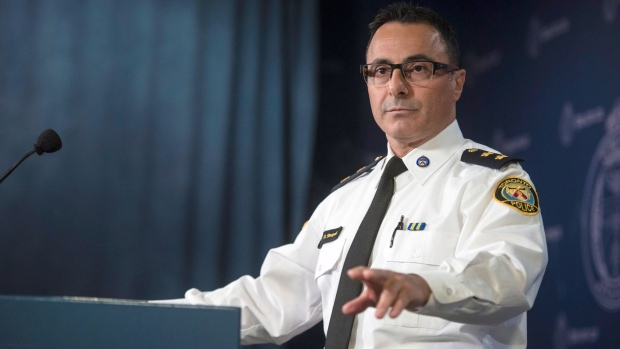 Insp. Dominic Sinopoli, unit commander of sex crimes, speaks about the alleged assaults and sexual assaults involving students at St. Michael's College School during a press conference at police headquarters in Toronto on Monday, November 19, 2018. THE CANADIAN PRESS/ Tijana Martin