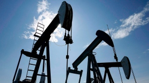 Pumpjacks are shown pumping crude oil near Halkirk, Alta., on June 20, 2007. (THE CANADIAN PRESS/Larry MacDougal)