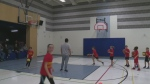 A team of children run basketball drills at a Guelph-area school.