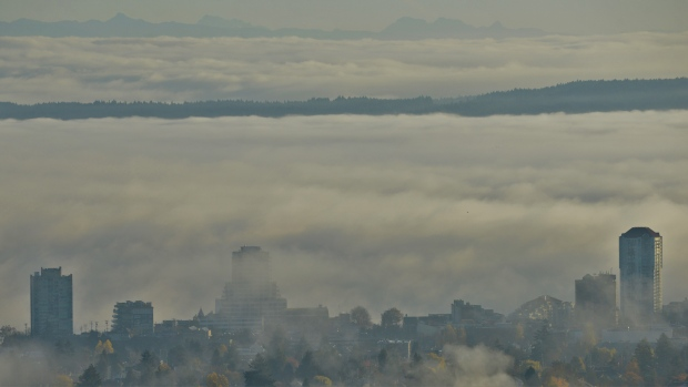 Nov. 19, 2018: 'Looking towards Nanaimo Downtown and Gabriola Island from College Heights. The fog horn is still blaring in the background.' (Courtesy Mike Lester)
