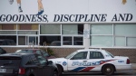 Toronto police at St. Michael's College School, in Toronto on Monday, Nov. 19, 2018. (THE CANADIAN PRESS/ Tijana Martin)