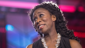 "Esi Edugyan is pictured on stage after winning the Scotiabank Giller Prize for her book ""Washington Black"" at the Scotiabank Giller Prize gala in Toronto on Monday, November 19, 2018. (THE CANADIAN PRESS/Chris Young)"