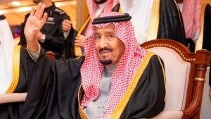 FILE- In this Wednesday, Nov. 7, 2018 file photo, released by Saudi Press Agency, SPA, Saudi King Salman waves during his visit to Qassim province in Qassim, Saudi Arabia.  (Saudi Press Agency via AP, File)