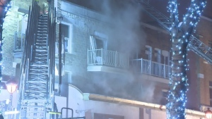 Police and firefighters believe someone deliberately started a fire on Wellington on Nov. 20, 2018 (CTV Montreal/Cosmo Santamaria)