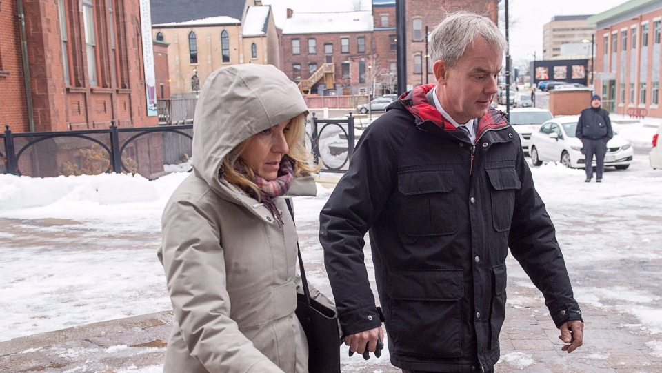 Dennis Oland and his wife Lisa arrive at the Law Courts in Saint John, N.B. on Tuesday, Nov. 20, 2018.  (THE CANADIAN PRESS/Andrew Vaughan)