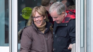 Dennis Oland and his mother Connie head from the Law Courts in Saint John, N.B., on Tuesday, Nov. 20, 2018. (THE CANADIAN PRESS/Andrew Vaughan)