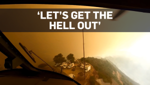 Pilot's-eye view of dramatic wildfire rescue