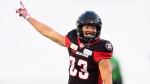Ottawa Redblacks Julian Feoli-Gudino (83) celebrates the team's win over the Hamilton Tiger-Cats to take the CFL East Division title in Ottawa on Sunday, Nov. 18, 2018. THE CANADIAN PRESS/Sean Kilpatrick