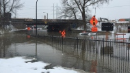 The Atwater Tunnel was closed on Nov. 20, 2018 when a water main broke and flooded the area. (CTV Montreal/Renaud Boulanger)