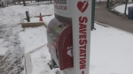 An outdoor defibrillator 'SaveStation' tower is unveiled at Barrie's City Hall near the skating rink on Tuesday, Nov. 20, 2018 (CTV News/Mike Walker)
