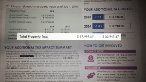 A sample of a fake tax notice sent to a homeowner is shown.