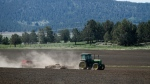 In this photo taken April 8, 2015, a tractor works a parcel of farm land in Klamath Falls, Ore. A federal judge has denied a request from Klamath Basin farmers and ranchers to ease their water situation this spring. (Dave Martinez/The Herald And News via AP)