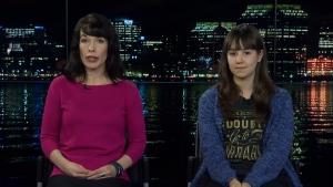 Bridget Brownlow (left), president of Peaceful Schools International, and student writer Amelia Penney-Crocker talk to CTV News Channel on Nov. 20, 2018. (CTV News Channel)