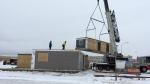Construction of a modular condo building in Shellbrook, Sask. (HOLLY GIESBRECHT/CTV PRINCE ALBERT)