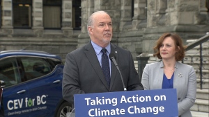B.C. Premier John Horgan announces a plan to require all cars and trucks sold in the province to be zero-emission by 2040. Nov. 19, 2018.