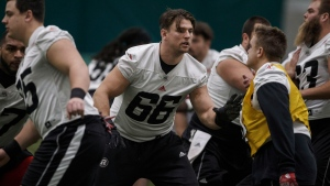 Ottawa Redblacks' Nolan MacMillan (66) takes part in practice, in preparation for Grey Cup, in Edmonton, Wednesday, Nov. 21, 2018. (THE CANADIAN PRESS/Jason Franson)