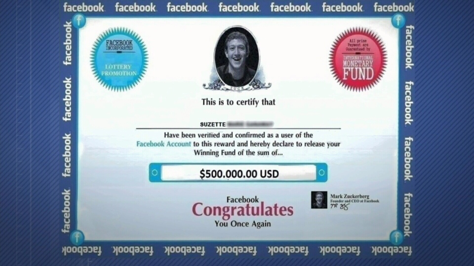 Toronto woman targeted by fake Facebook lottery scam | CTV