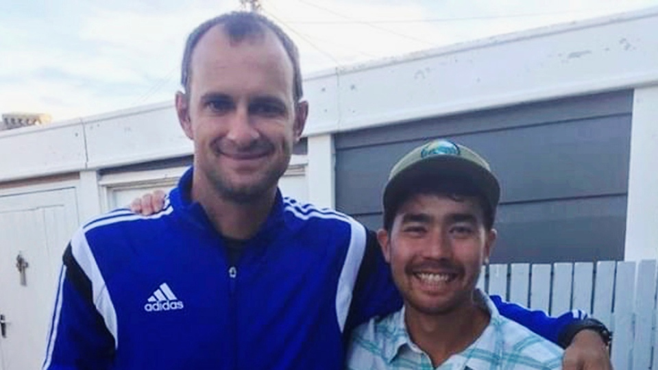 In this October 2018 photo, American adventurer John Allen Chau, right, stands for a photograph with Founder of Ubuntu Football Academy Casey Prince, 39, in Cape Town, South Africa, days before he left for in a remote Indian island of North Sentinel Island, where he was killed. (AP Photo/Sarah Prince)
