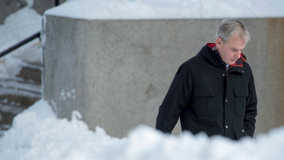 Dennis Oland heads to the Law Courts in Saint John, N.B., on Wednesday, Nov. 21, 2018.  THE CANADIAN PRESS/Andrew Vaughan