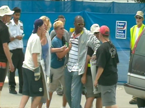 Tensions rose between picketers and a citizen at Ted Reeve Arena on Friday, July 10, 2009.