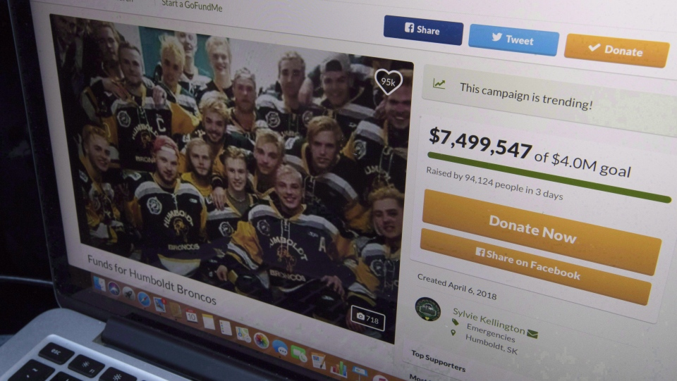 A GoFundMe page for the Humboldt Broncos is seen on a computer near Tisdale, Sask., on April, 10, 2018. THE CANADIAN PRESS/ Jonathan Hayward
