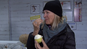 Elaine Christianson tries water buffalo milk gelato for the first time.