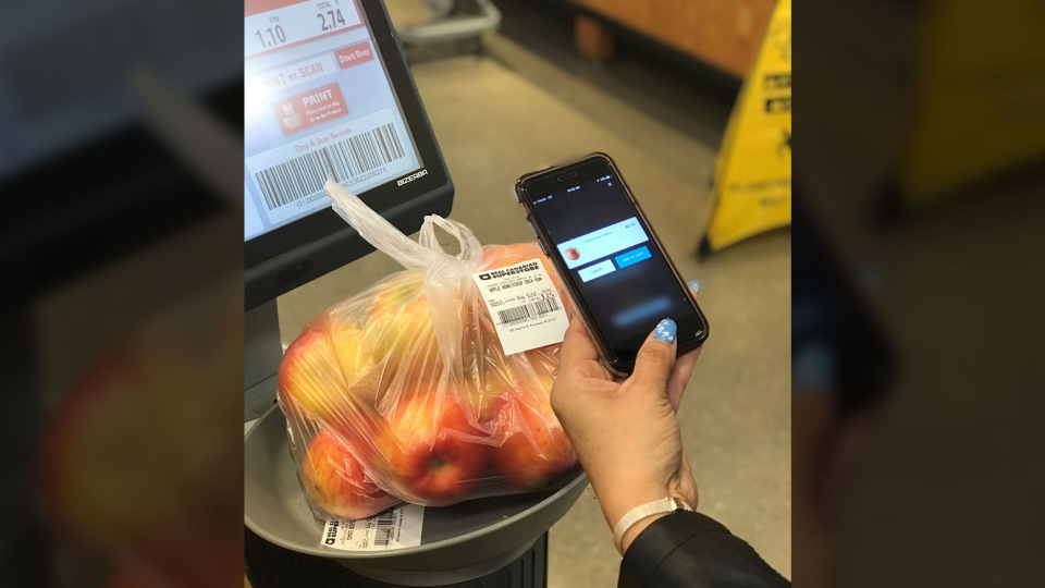 "The grocer will be rolling out a new ""shop and scan"" self-checkout app that lets people scan their items as they shop, with participating stores having digital scales to weigh produce items. (Loblaw)"