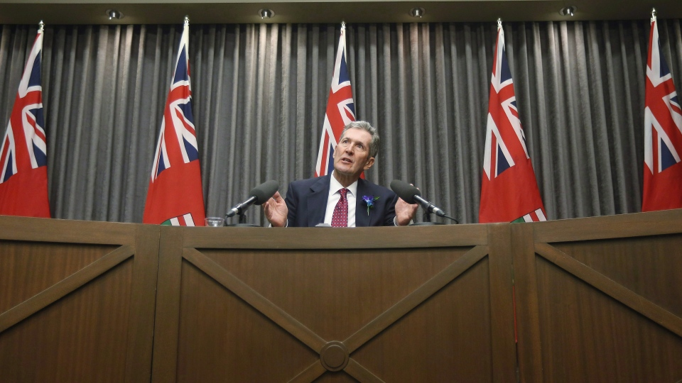 Manitoba Premier Brian Pallister speaks to media after the reading of the throne speech at the Manitoba Legislature in Winnipeg on November 20, 2018. THE CANADIAN PRESS/John Woods