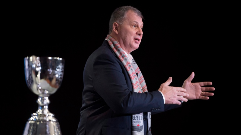 CFL Commissioner Randy Ambrosie addresses the media during the State of the League news conference at Grey Cup week in Edmonton, Friday, November 23, 2018. (THE CANADIAN PRESS/Jonathan Hayward)