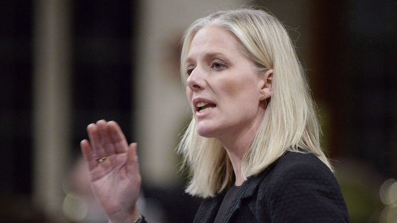 Environment Minister Catherine McKenna speaks during question period in the House of Commons on Parliament Hill in Ottawa on October 25, 2018. THE CANADIAN PRESS/Adrian Wyld