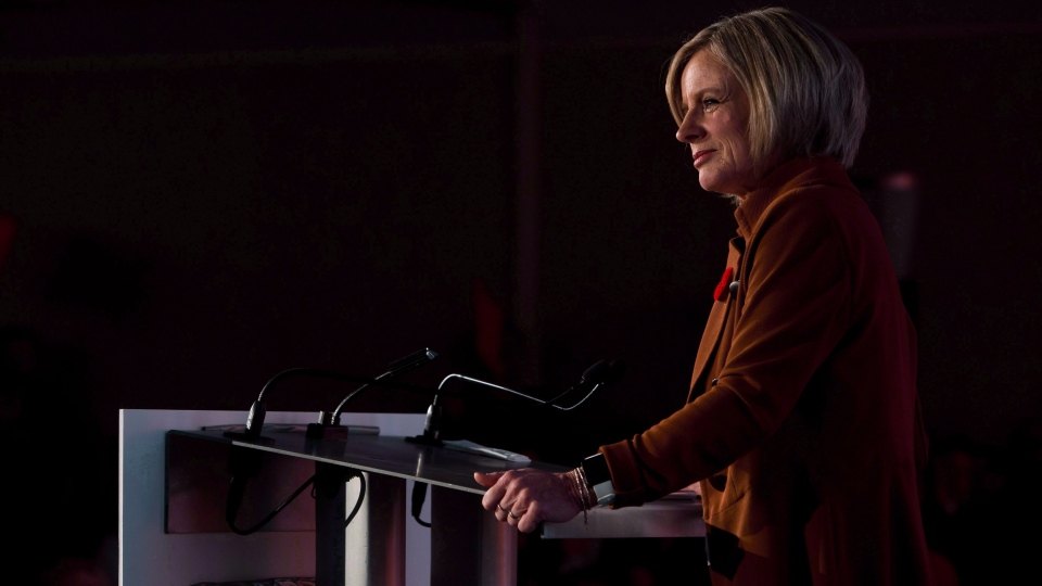Rachel Notley speaks during the Alberta NDP Convention in Edmonton on Sunday, Oct. 28, 2018. THE CANADIAN PRESS/Amber Bracken