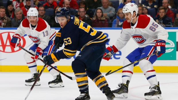 Buffalo Sabres forward Jeff Skinner (53) controls the puck during the third period of an hockey game against the Montreal Canadiens, Friday, Nov. 23, 2018, in Buffalo N.Y. (AP Photo/Jeffrey T. Barnes)