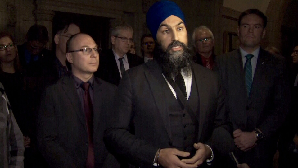 NDP Leader Jagmeet Singh is joined by MPs who walked out of a House of Commons session in protest over the Liberal government's back-to-work legislation on Friday, Nov. 23, 2018.