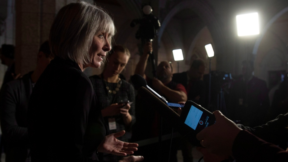 Employment, Workforce Development and Labour Minister Patricia Hajdu speaks about back to work legislation Friday November 23, 2018 in Ottawa. THE CANADIAN PRESS/Adrian Wyld