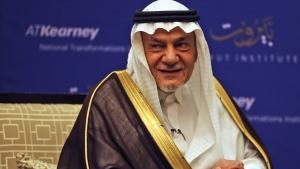 Saudi Prince Turki al-Faisal talks to the Associated Press in Abu Dhabi, United Arab Emirates, Saturday Nov. 24, 2018. (AP Photo/Kamran Jebreili)