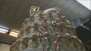 To celebrate 50 years, Alati Caserta bakery in Little Italy made its own version of a birthday cake – a tower of cannoli. The shop will be selling the sweet treats - just the way Nonna made them - at half price for the rest of the month. (CTV Montreal)