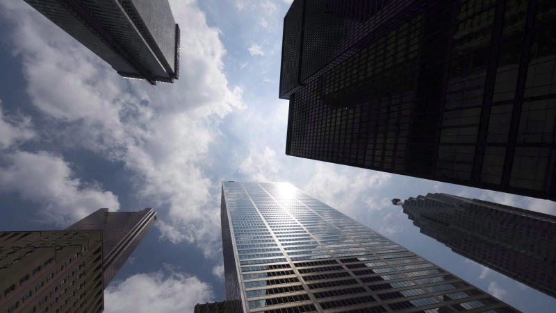 Bank towers are shown from Bay Street in Toronto's financial district, on June 16, 2010. THE CANADIAN PRESS/Adrien Veczan
